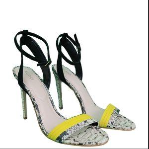 Aldo Women's Sz 8 Yellow Faux Snake Leather Heels